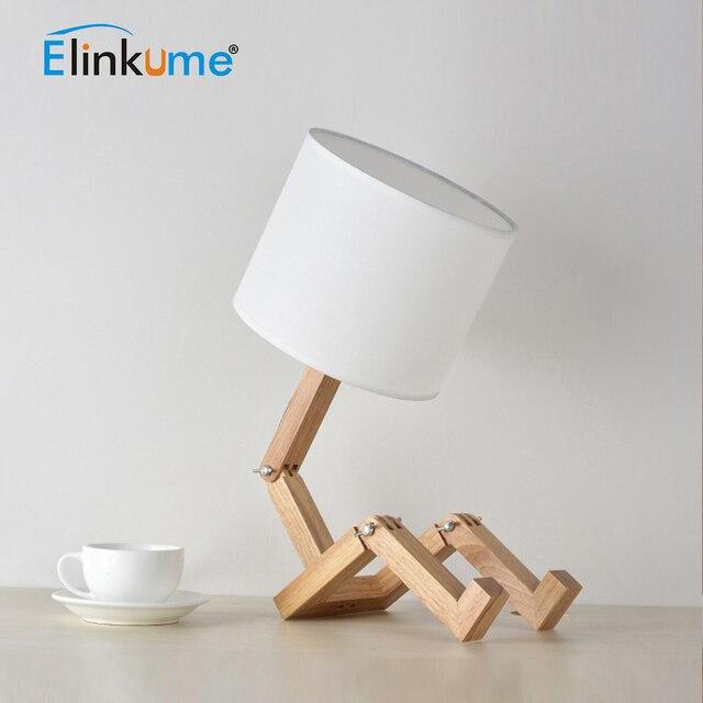 Eline Creative Decor Table Lamp 220v E27 Robot Modern Wooden Shaped Flexible Adjule Folding Bedside