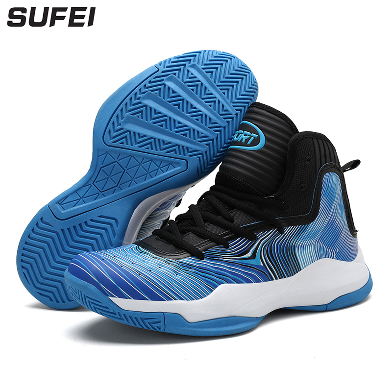 цены sufei Men's Basketball Shoes Breathable Anti-Slip High Ankle Sport Sneakers Outdoor Athletic Cushion Training Trainers