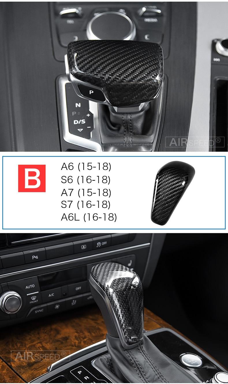 Carbon Fiber Gear Shift Knob Cover Head for Audi A4 B9 B7 A5 Q7 A3 S3 A4 B8 A5 C6 A6 C7 C6 S6 A7 S7 A8 Q5 Accessories (9)