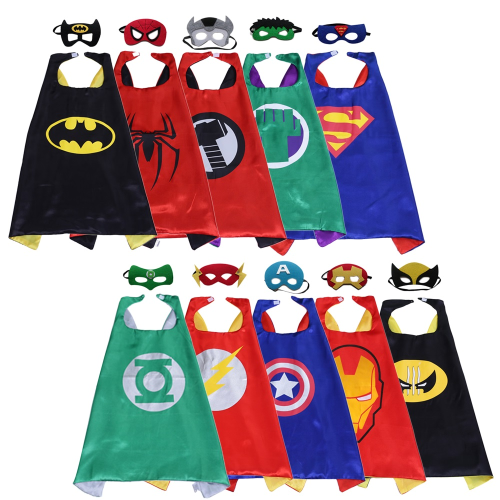 Magiczone 70*70cm Kids cosplay costumes Child superhero capes mask set Halloween Christmas Party favor holiday gifts 10sets/pack