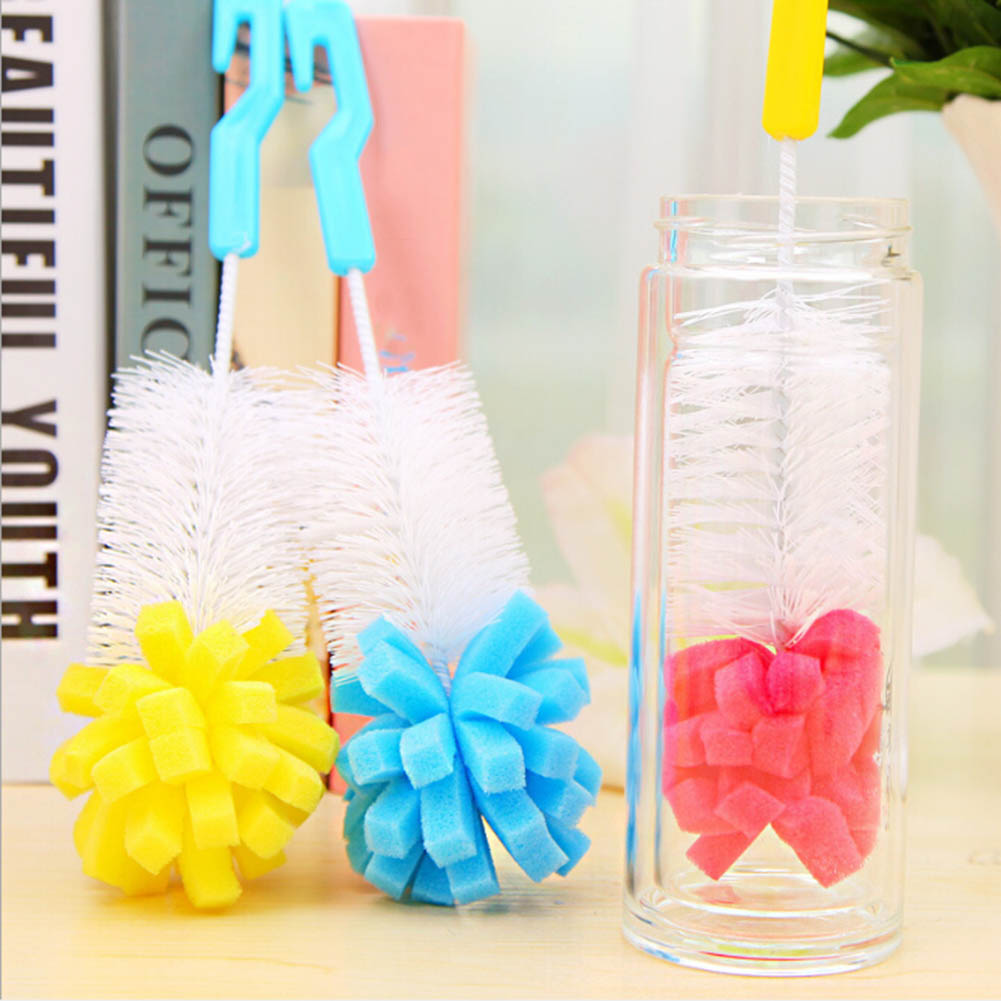 1 Piece Cup Brush With Cleaning Sponge Bottle Scrubber Kitchen Tool Household Tea Glass Tableware Cleaning Brush