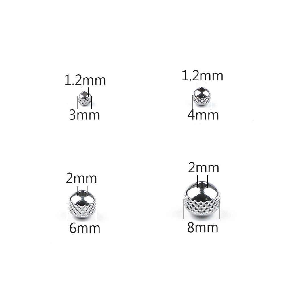 Wylees Grid/Ban Bentuk Stainless Steel Manik-manik 3 4 6 8 Mm Bulat Pengatur Jarak Manik-manik Longgar untuk Perhiasan Kalung gelang DIY Menemukan