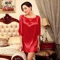 3 Colors 2016 New Brand Silk Satin Night Dress Nightgown Sleepwear Sexy Lace Bathrobe Robes For Women Nightdress Nightwear SQ127