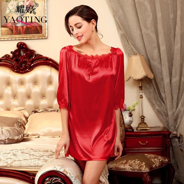 3 Cores 2016 Nova Marca De Cetim De Seda Noite Vestido Camisola Sleepwear Sexy Lace Roupão Vestes Para As Mulheres Nightdress Nightwear SQ127