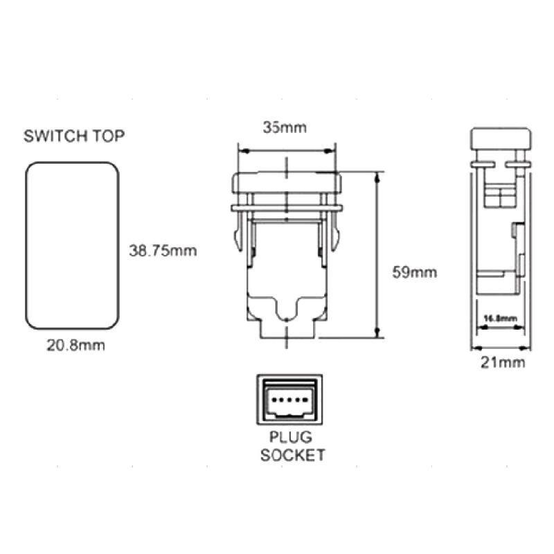 CARCHET 12V 24V Rocker Switch SPST Push Button Two Lights Blue for ...