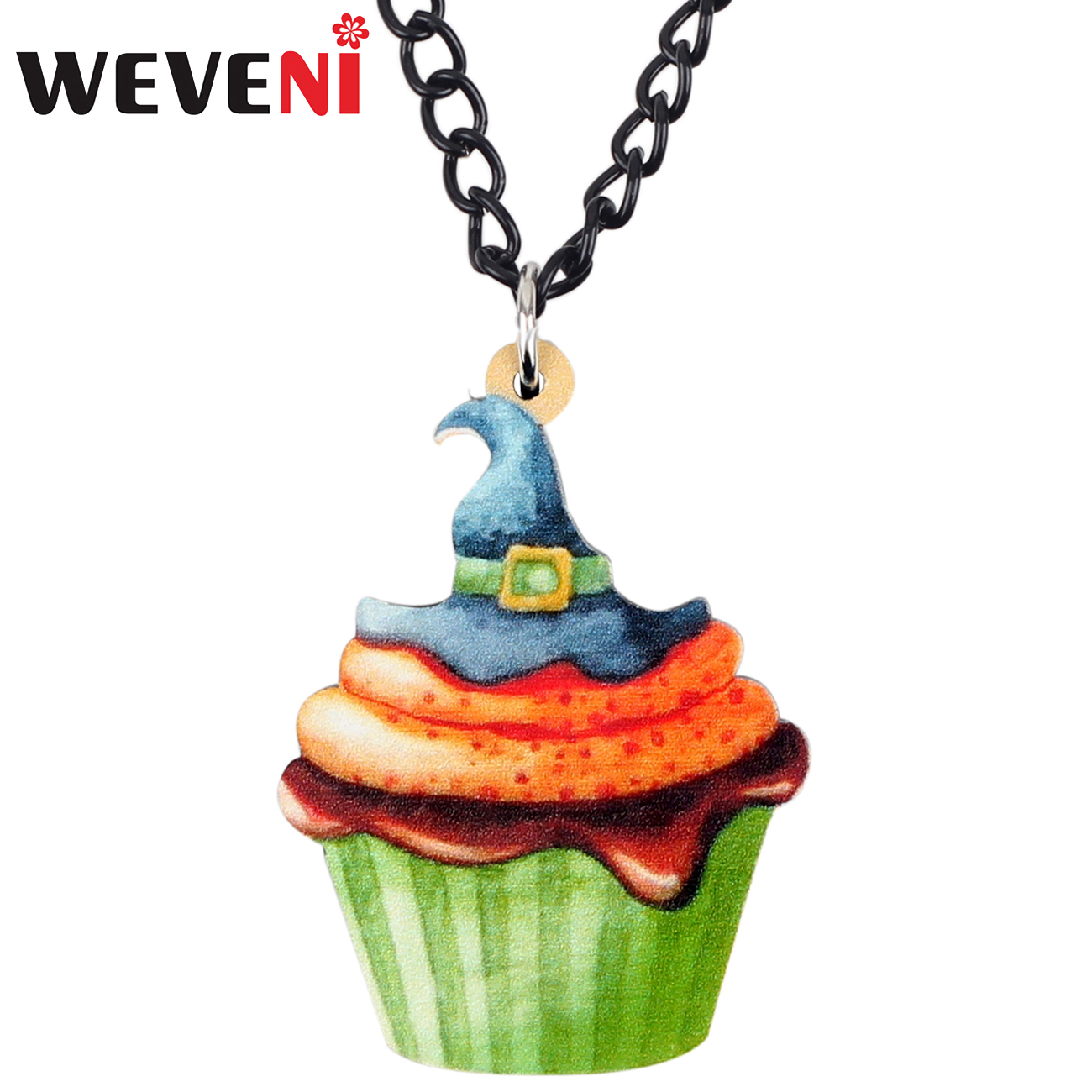 Gentle Weveni Acrylic Halloween Cartoon Hat Cupcake Necklace Pendant Collier Cute Food Jewelry For Women Girls Teens Gift Accessories To Make One Feel At Ease And Energetic Jewellery & Watches