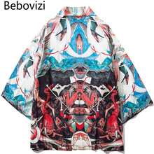 Bebovizi Japan Vintage Style Painting Thin Kimono 2019 Men Japanese Robe Streetwear Losse Jackets Casual Outerwear Clothes