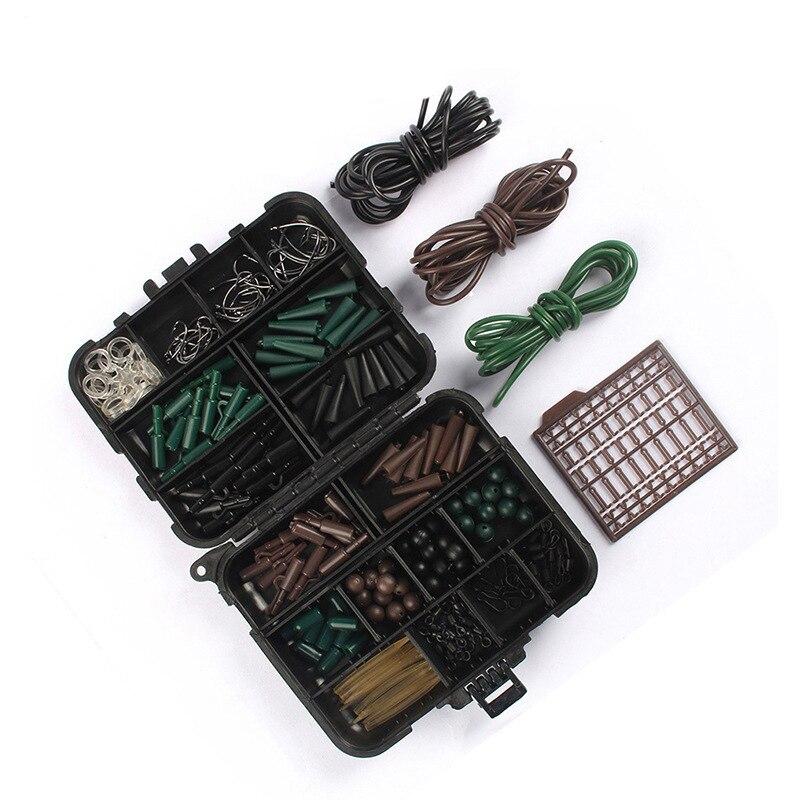 189pcs/lot Carp Fishing Accessories Set Tubes Safety Clips Hooks Swivels Kit Hair Rigs With Black Box Carp Fishing Tackle Fancy Colours Fishing