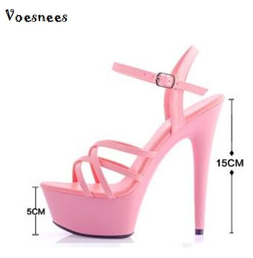 Model Catwalk Shoes 2019 High Heels 13 / 15CM With Thick Bottom Strap Waterproof Table Sandals Model Catwalk Shoes Plus Size 44