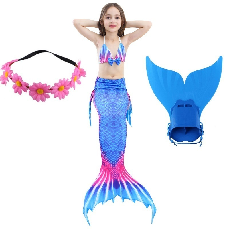child Children Swimming Mermaid Tails With Monofin Cosplay Costume Girls Kids Swimsuit Ariel Swimmable Mermaid Tail for Swimming