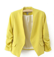 Solid Color Women Blazer New Chic Fashion Blazer 3 4 Sleeve Pockets None Button Blazer Woman