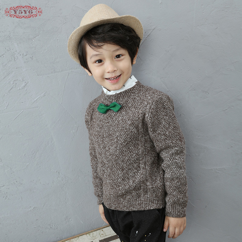 ФОТО Casual Baby Boys Solid Gray Autumn Winter Sweaters Cotton Wool Blended O-Neck Hedging Pullover Bow Decoration kids Clothes M1058