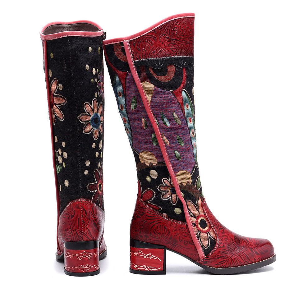 Fashion Patchwork Western Cowboy Boots Women Shoes Bohemian Genuine Leather Shoes Woman Vintage Side Zip Knee High Riding Boots in Knee High Boots from Shoes