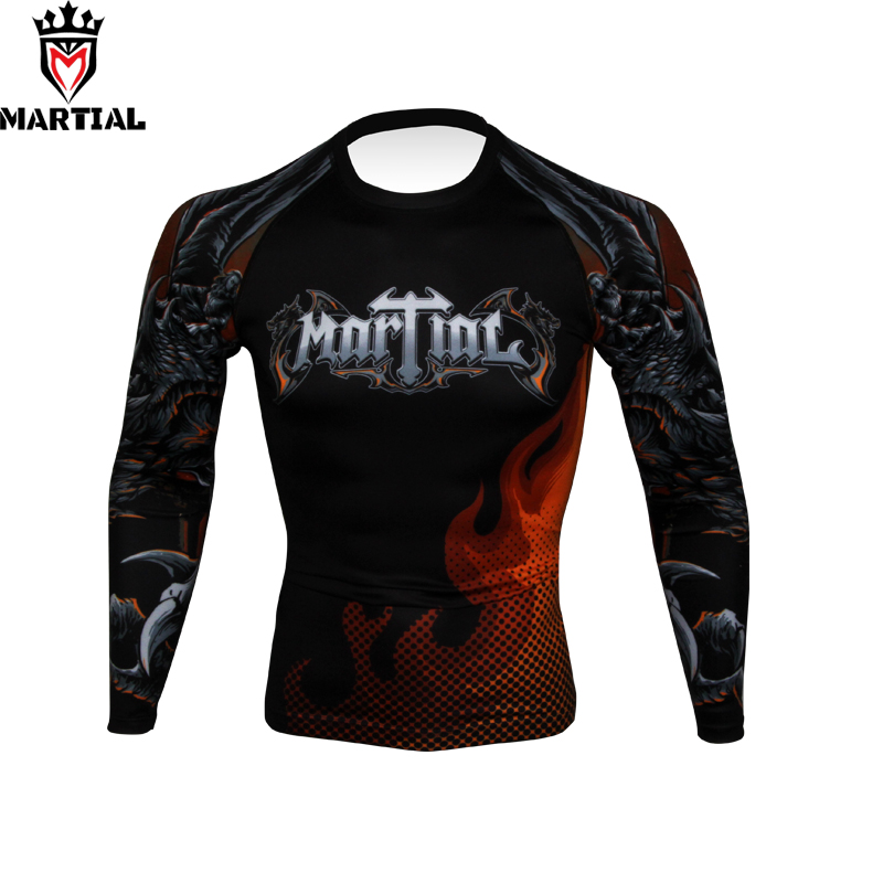Free Shipping NEW ARRIVAL Fire And Blood Sublimated Full Sleeve Rashguards Fitness Mma Bjj Fight Shirts Compression Running Tigh