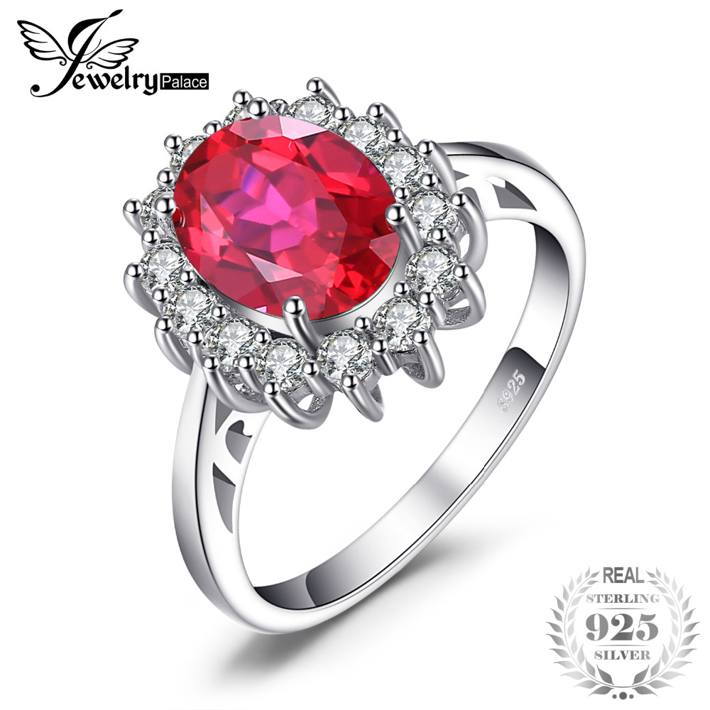 JewelryPalace Princess Diana William Engagement Wedding Created Red Ruby Ring Set Pure Solid Genuine 925 Sterling Silver Jewelry jewelrypalace princess diana jewelry engagement wedding created emerald jewelry 925 sterling silver ring pendant earring