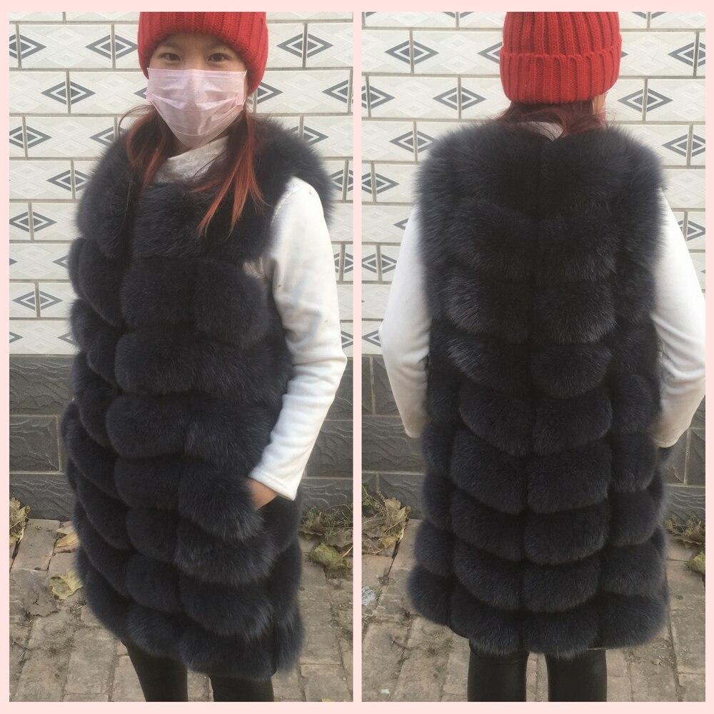 90 см натуральный Лисий мех жилет Новый 2018 зимний длинный толстый женский Жилет из натурального меха Куртка Карманы натуральный мех жилет па