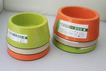 Toxic and tasteless material of bamboo fiber green round pet dog bowl cat water
