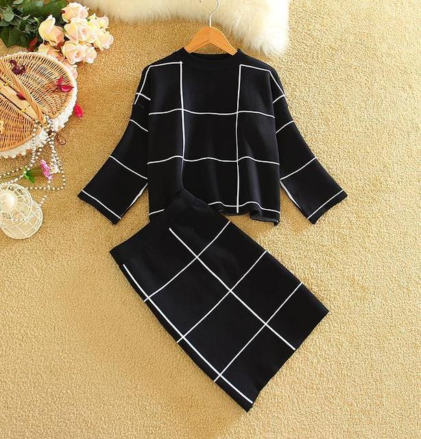 New Arrival 2016 Women Clothing Set Woman Knitted Tops+Skirts Sets Big Plaid Ladies Winter Clothes Suits 3 Colors
