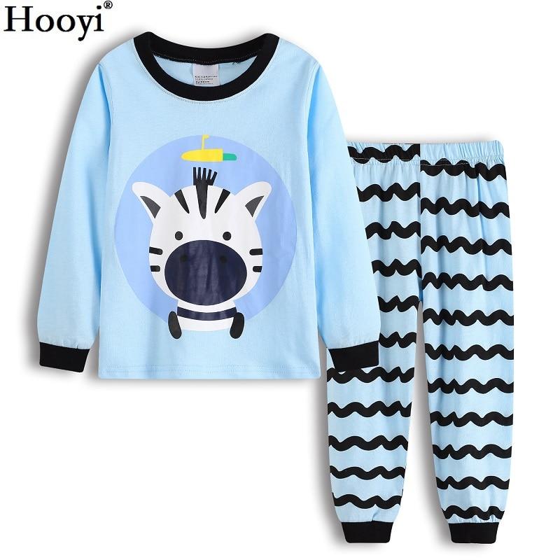 Hooyi Boy pajamas suit Long Sleeve Pajama Children pijama Kids Sleepwear clothes D nightgown 100% Cotton T-Shirt Pants Set 5