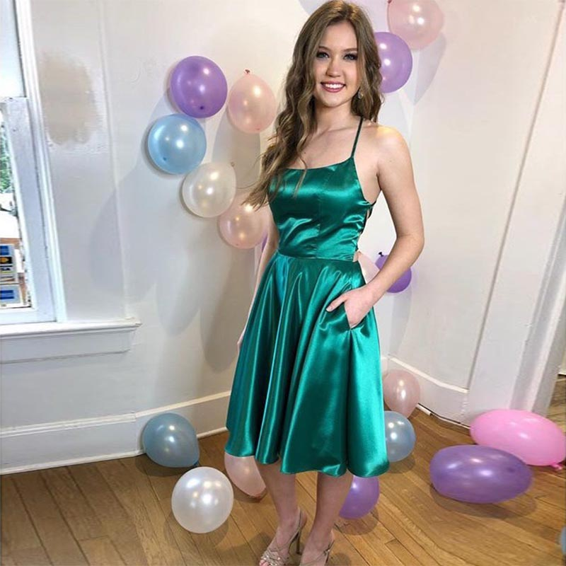 Sexy Short   Cocktail     Dresses   With Pockets Bridal Banquet Dark Green Satin Knee Length Party Formal   Dress   Homecoming   Dresses   New