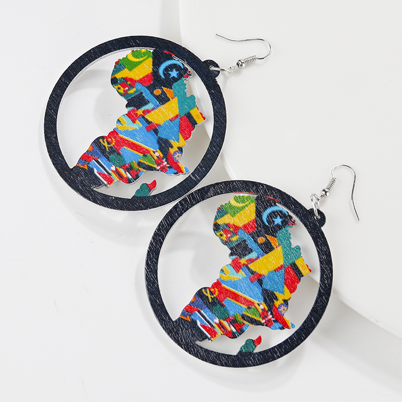 AENSOA Trendy Painted Africa Map Wooden Drop Earrings For Women Statement Hollow Out African Ethnic Fashion Jewelry wholesale