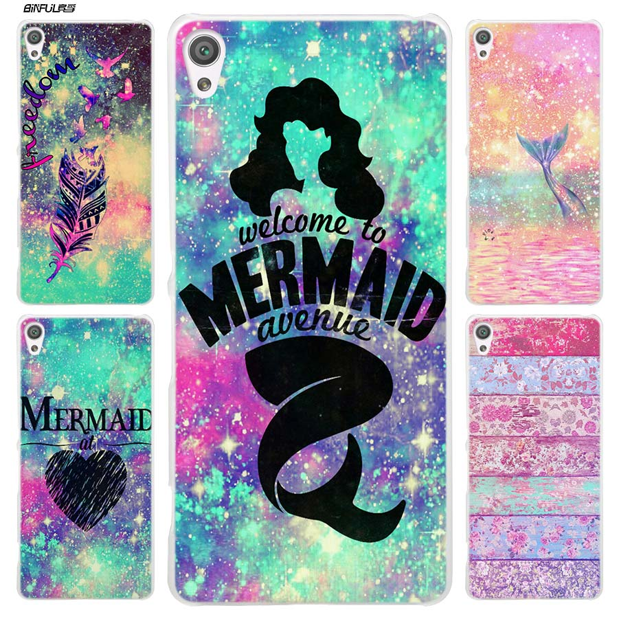 BiNFUL Mermaid at heart Clear Cover Case for Sony Xperia XA XA1 X XZ Z5 Z1 Z2 Z3 M4 Aqua M5 E4 E5 C4 C5 Compact Premium