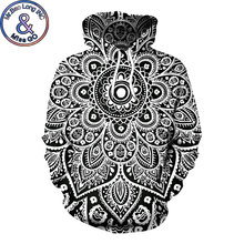 Fashion Casual Hip Hop Hoodie Sweatshirt Men Women 3D Psychedelic Mandala Floral Print Hoodies Sweatshirts Men