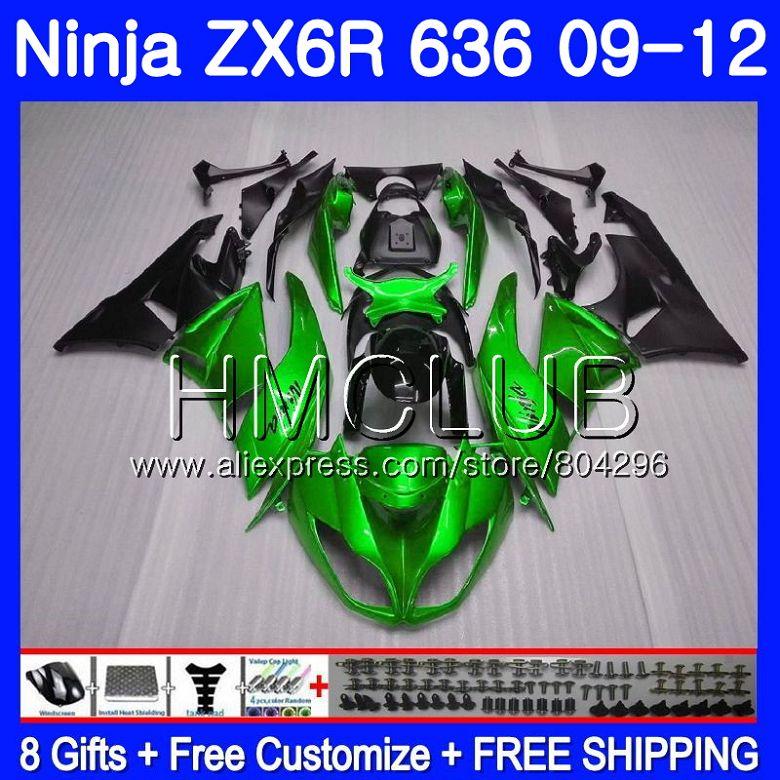 Body For KAWASAKI NINJA ZX636 ZX-6R ZX6R 09 10 11 12 15HM.10 ZX 636 600CC ZX-636 ZX 6R 2009 2010 2011 2012 Fairing Pearl green