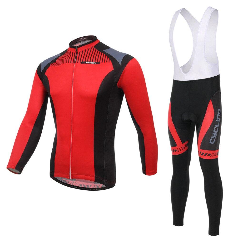 XINTOWN red sickle bike riding jersey gear long-sleeved suit wear cycling suits fleece wind warm functional underwear