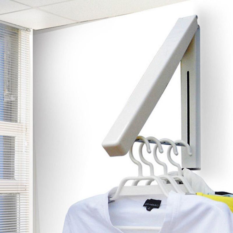 Magic Foldable Drying Rack Waterproof Clothes Towel Rack Stainless Steel Wall Hanger Retractable Indoor Clothes Hanger