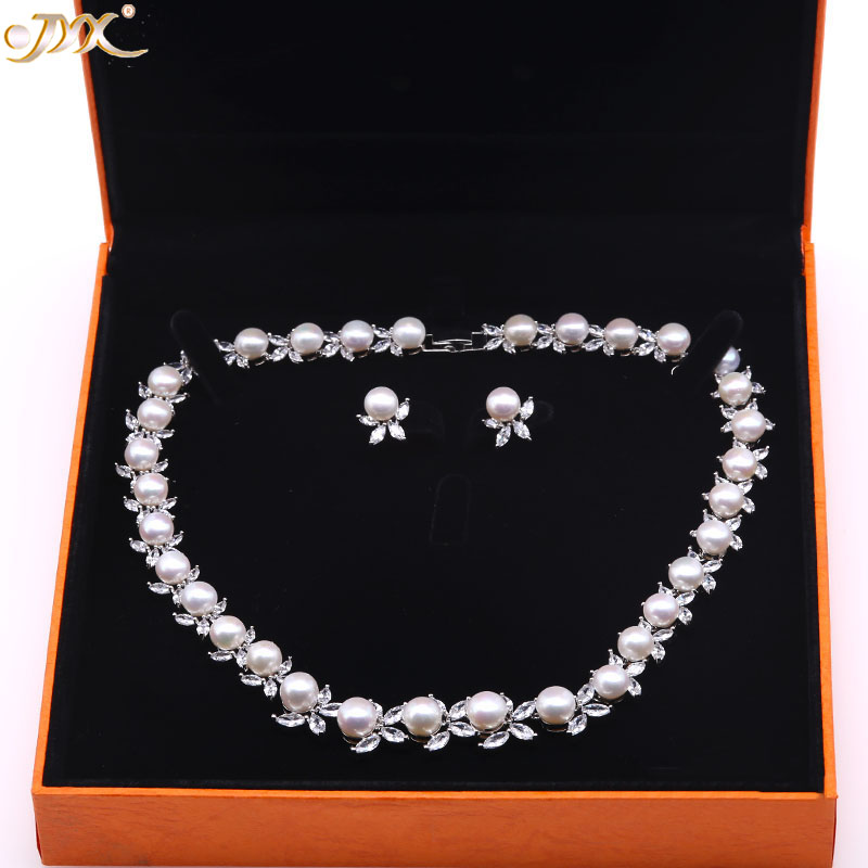 JYX Pearl Jewelry Set 8.5-9mm White Flat Round Freshwater Pearl Necklace & Earrings Set 17 jyx pearl wedding jewelry set 7 7 5mm white flat round freshwater pearl necklace