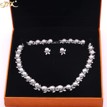 "JYX Pearl Jewelry Set 8.5-9mm White Flat Round Freshwater Pearl Necklace & Earrings Set 17""(China)"