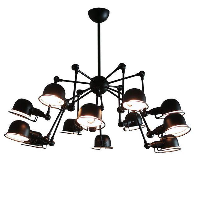 Vintage Loft American Style 12 Lights Mechanical Arm Spider Chandeliers Black Ceilng Lamp Fixtures Lighting