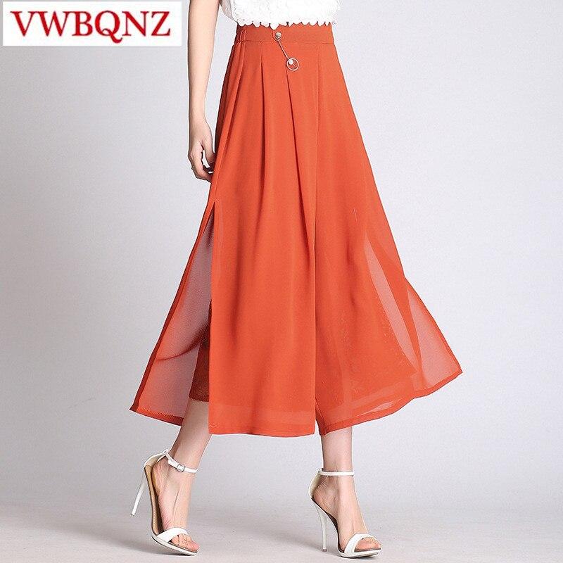Wide     leg     pants   women 2018 New summer Elastic waist Loose Chiffon   Wide     leg     pants   Plus size Fashion Casual Ankle-Length   Pants   4XL