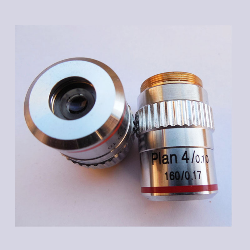 New 4X / 0.1 Plan Achromatic Objective Lens Microscope objective DIN160/0.17 Biological Microscope Objective free shipping