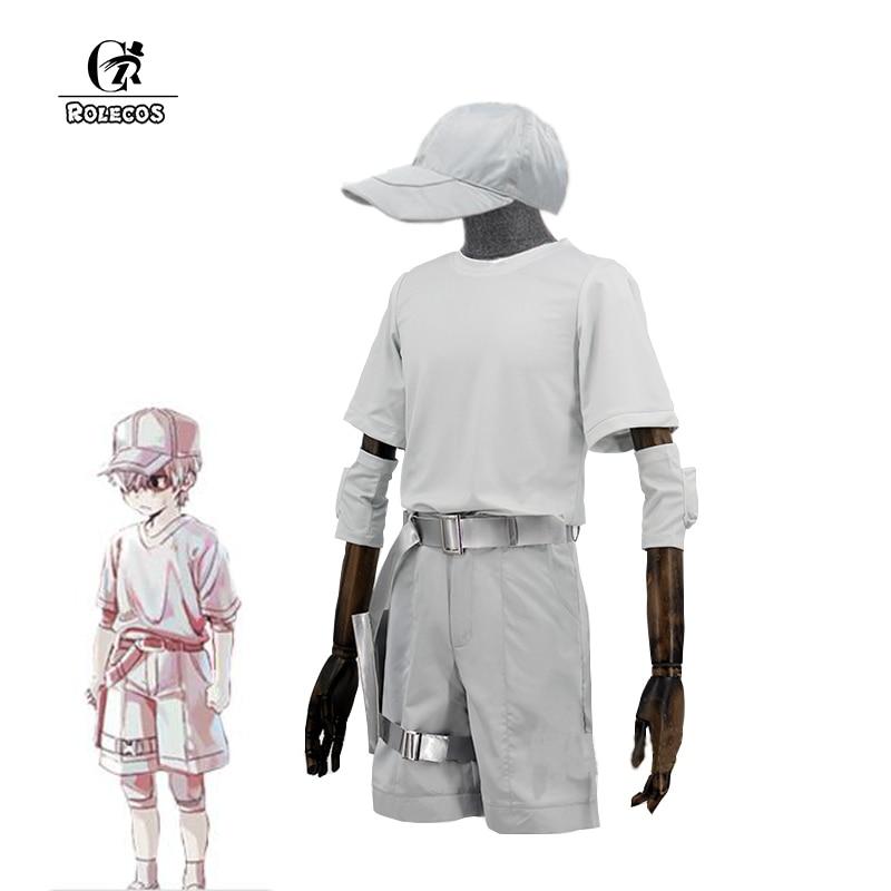 ROLECOS Cells At Work Juvenile White Blood Cell Cosplay Costume Leukocyte U-1146 Anime Hataraku Saibou Cosplay Men White Uniform