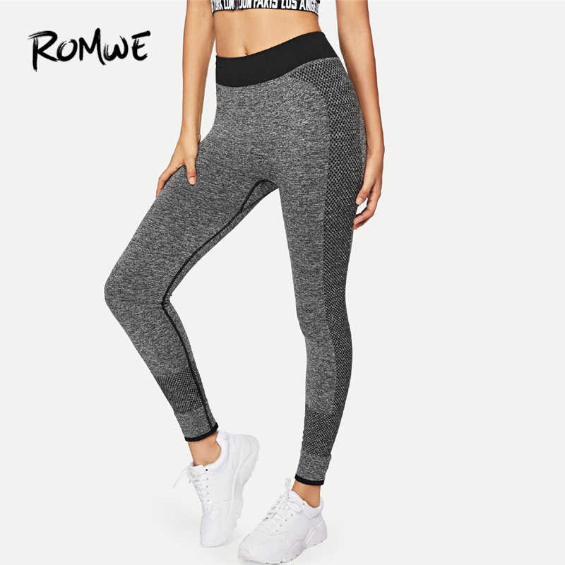 9bfd012079e3f6 Romwe Sport Grey Women Yoga pants 2018 Elastic Running Gym Sport Leggings  Fitness Yoga Tights Jogging