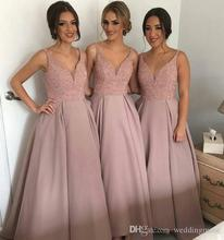 Sparkling Blush Pink V Neck Sleeveless Long Maid Of Honor gown Heavy Beaded Country party prom 2018 Bridesmaid Dresses
