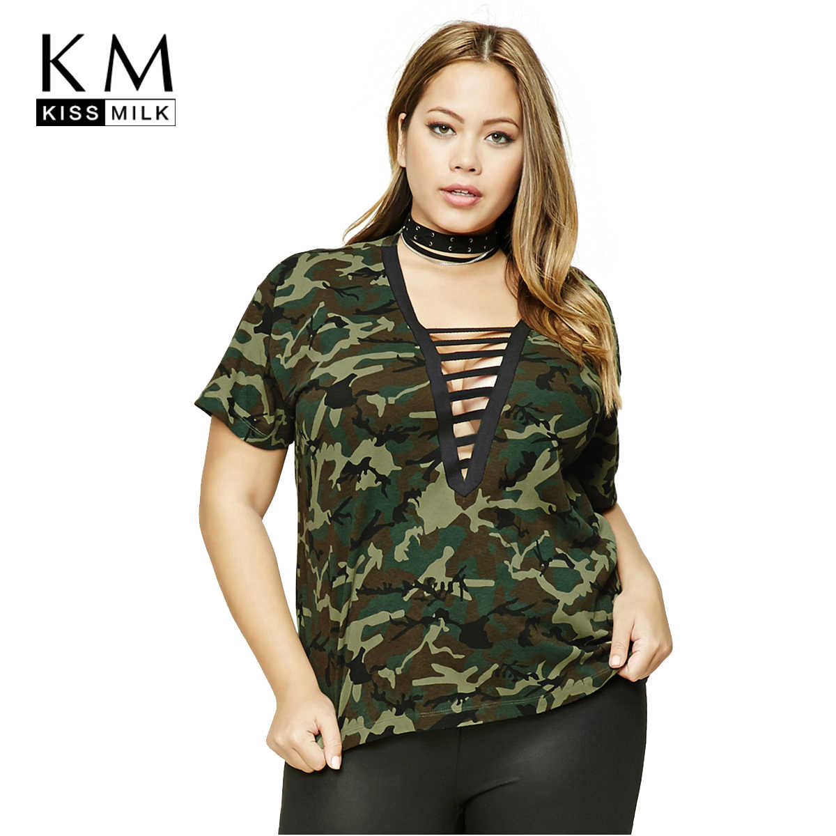 Kissmilk 2018 Plus Size Women Hollow Out T-shirts Patchwork Loose Casual  Camouflage Female Big 897eb56a7561