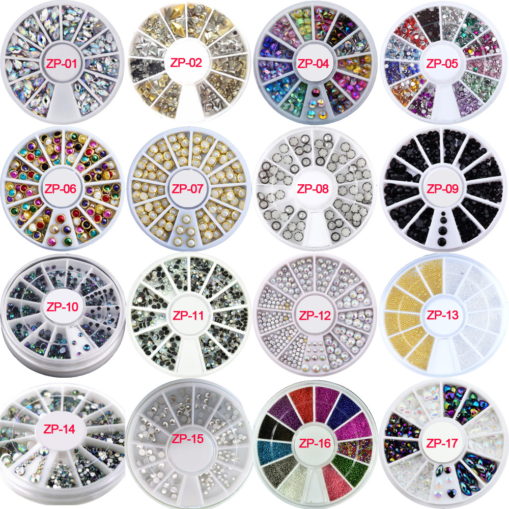 3D Nail Art Charms s/2-4.7mm Rhinestone in Wheel Design Stone Decorations Strass Jewelry DIY Nailart Adhesive Rhinestones Mix