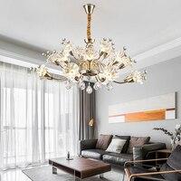 Stile europeo LED luci Lampadario di cristallo di vetro creativo fiori appesi luci Contemporanea soggiorno dimmerabile Lampadari-in Lampadari da Luci e illuminazione su