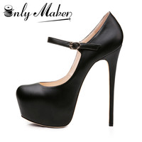 Onlymaker Women Mary Jane Platform Pumps Ankle Strap Stiletto 15~16cm High Heels Dress Buckle Shoes large size US15