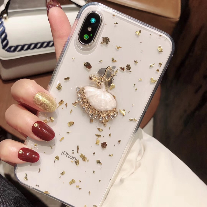 Tfshining Gold Foil Glitter Bling Case for iPhone X XS MAX 8 7 6 6S Plus Ballet Girl Silicone Clear Case TPU Back Shell Cover (10)