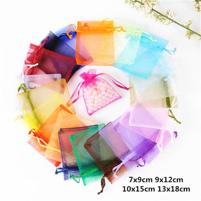 10 pcs 7x9 9x12 10x13x18 15 centímetros de Casamento Sacos de Organza Malotes de Jóias saco de Sacos de embalagem Para Festa de Aniversário Decoração Suprimentos Presente