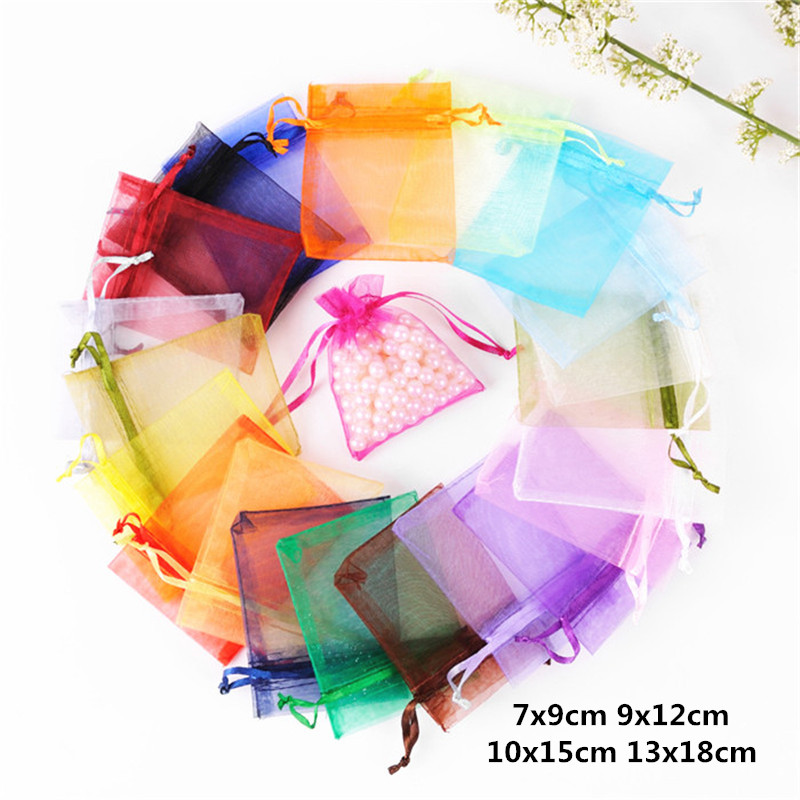 10pcs 7x9 9x12 10x15 13x18cm Organza Bags Wedding Pouches Jewelry Packaging Bags For Birthday Decoration Party Supplies Gift Bag