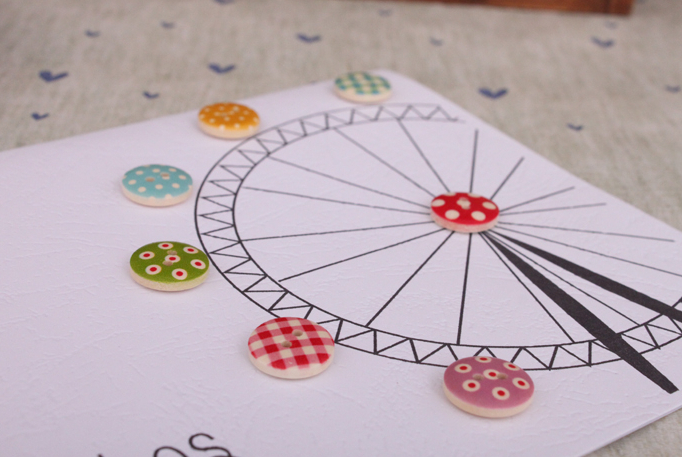 Multicolour handmade buttons color buckle birthday card general