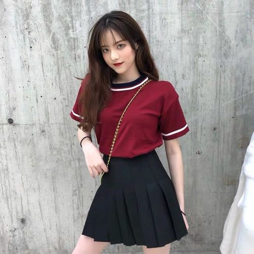 Short Sleeve Preppy Style Pleated Two Piece Set Kawaii Women Skirt Sets Twinset Korean Lady Clothes Terno Feminino 2 Set Woman