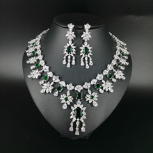 2018 new fashion luxury elegant green flower cubic zirconia necklace earring set,wedding bride dinner party formal jewelry set