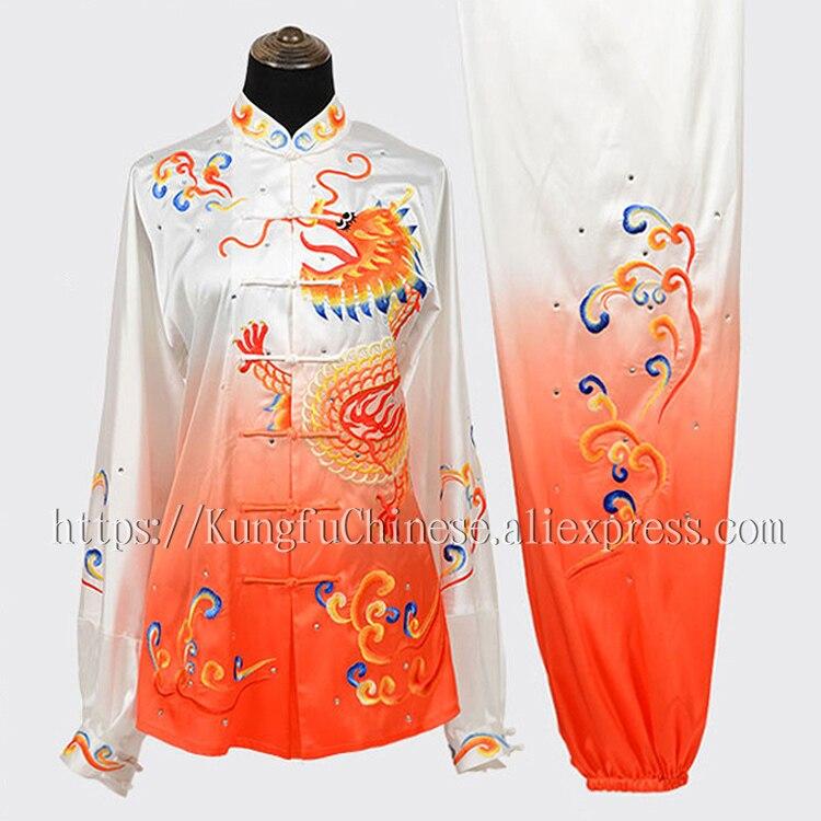 US $139 8 |Chinese wushu uniform Kungfu clothes Martial arts garment Taiji  demo ostume Taichi outfit for men women children girl boy kids on