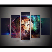 High quality Printed posters painting on canvas 5 pcs/sets cuadros decoracion painting on the wall Dream catcher & wolf YY294